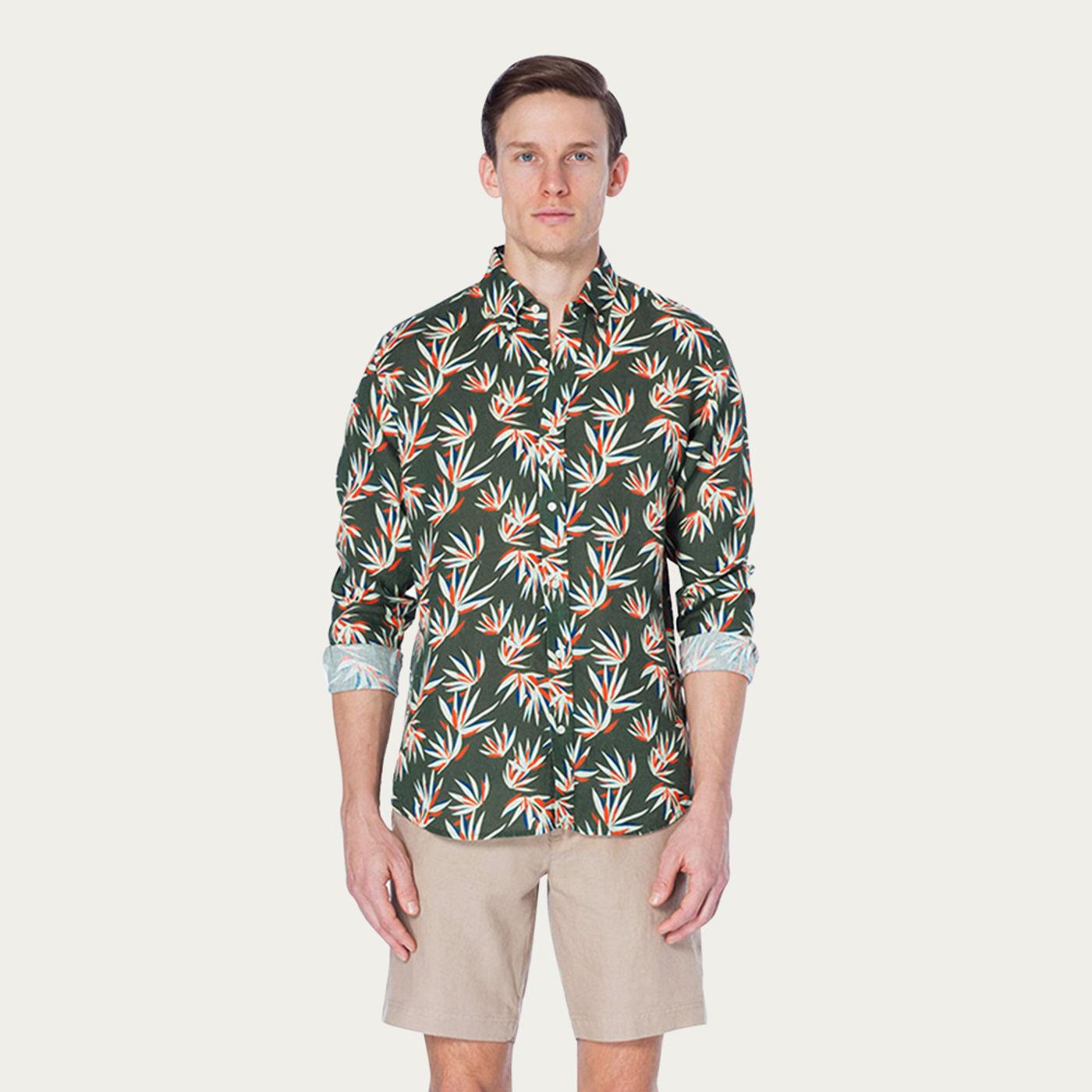 Khaki Lotus Martin Printed Shirt   Bombinate