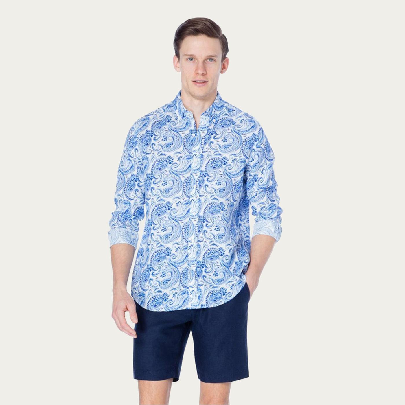 Navy Cypress Martin Printed Shirt | Bombinate