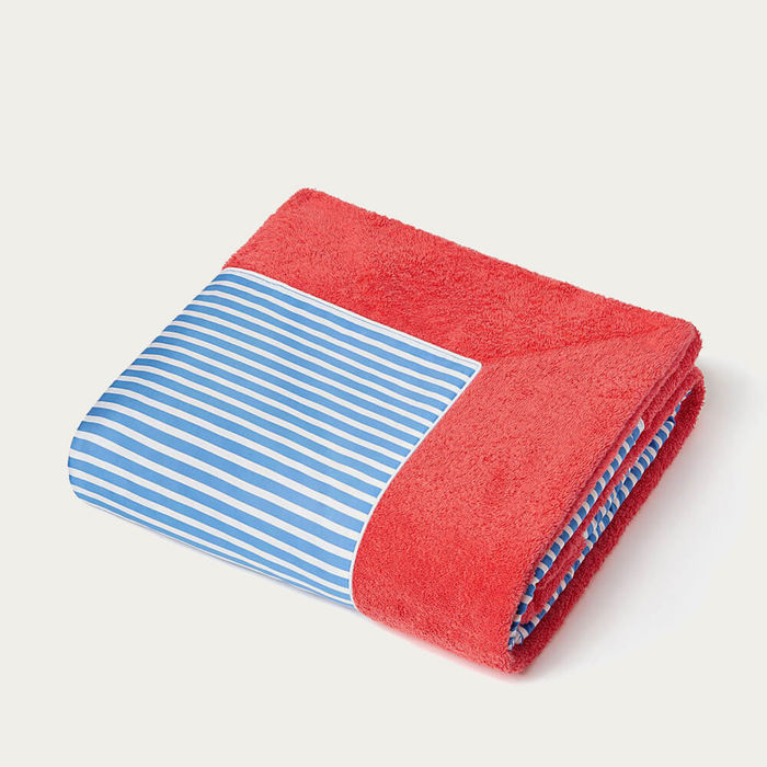Coral with Cobalt Blue Stripes Grand Luxe Beach Towels    Bombinate