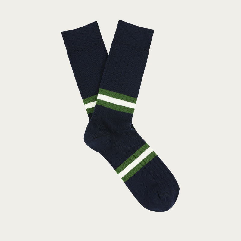 Navy / Green Stripes Socks  | Bombinate