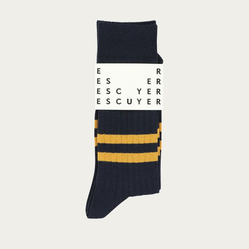 Navy / Mustard Stripes Socks  | Bombinate