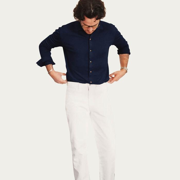 Blue Navy The Linen Knit Shirt | Bombinate