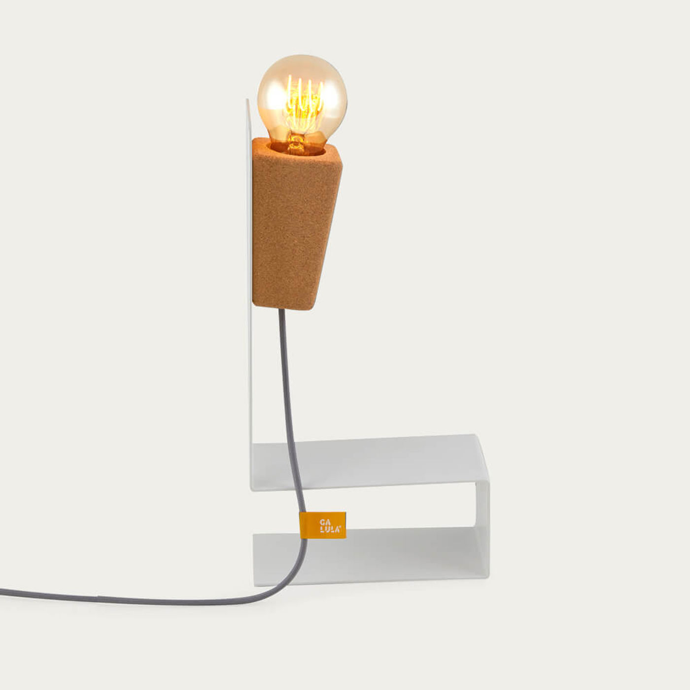 White Base and Grey Cable Glint #1 Desk Lamp | Bombinate