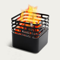 Black Cube Fire Basket   Bombinate