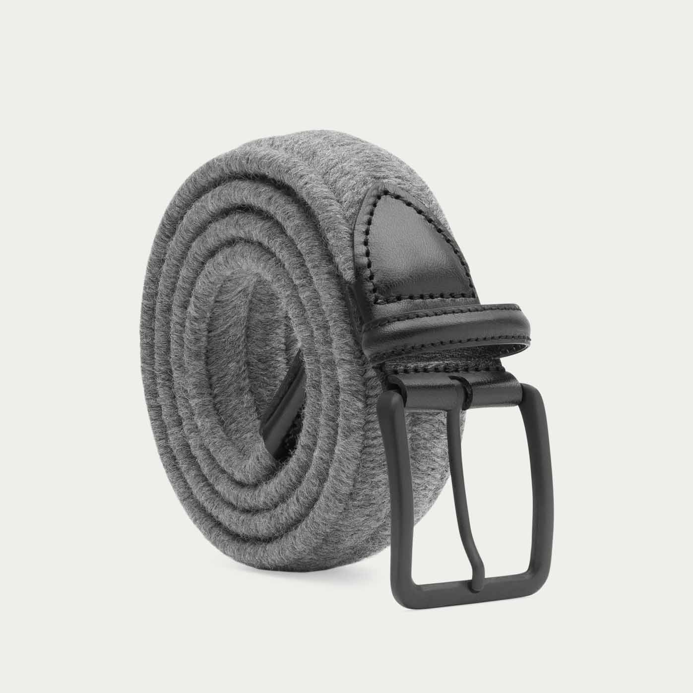 Grey/Black Alessandro Elastic Braided Wool Belt  0