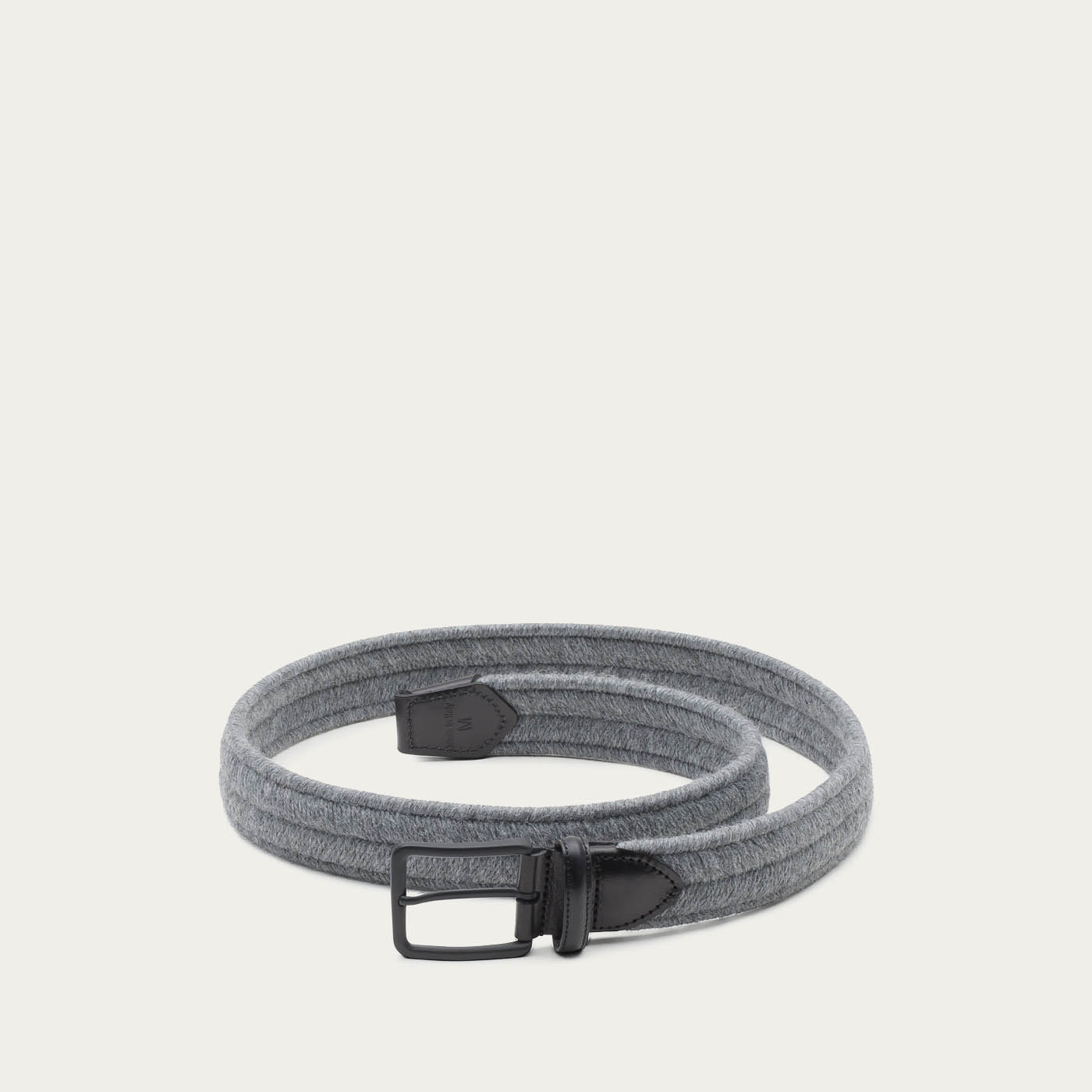 Grey/Black Alessandro Elastic Braided Wool Belt  1
