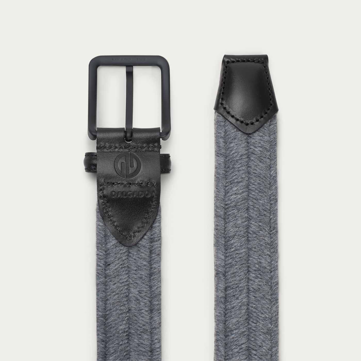 Grey/Black Alessandro Elastic Braided Wool Belt  | Bombinate