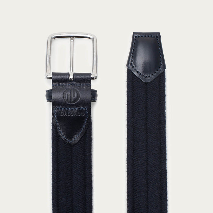 Blue Fabiano Elastic Braided Wool Belt    Bombinate