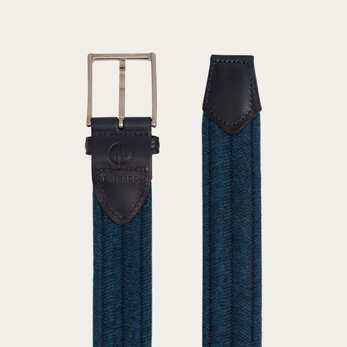 Blue Fabrizio Elastic Braided Wool Belt  | Bombinate