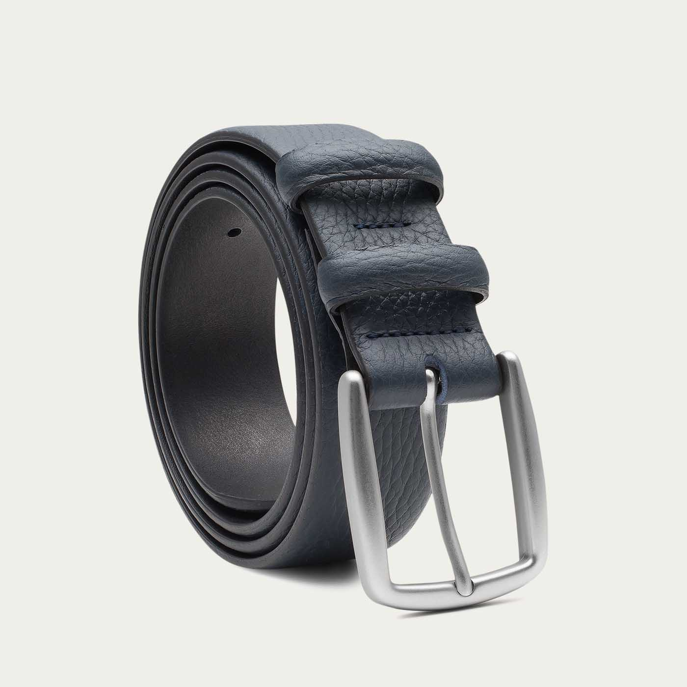 Blue Gaspard Handmade Leather Belt  | Bombinate