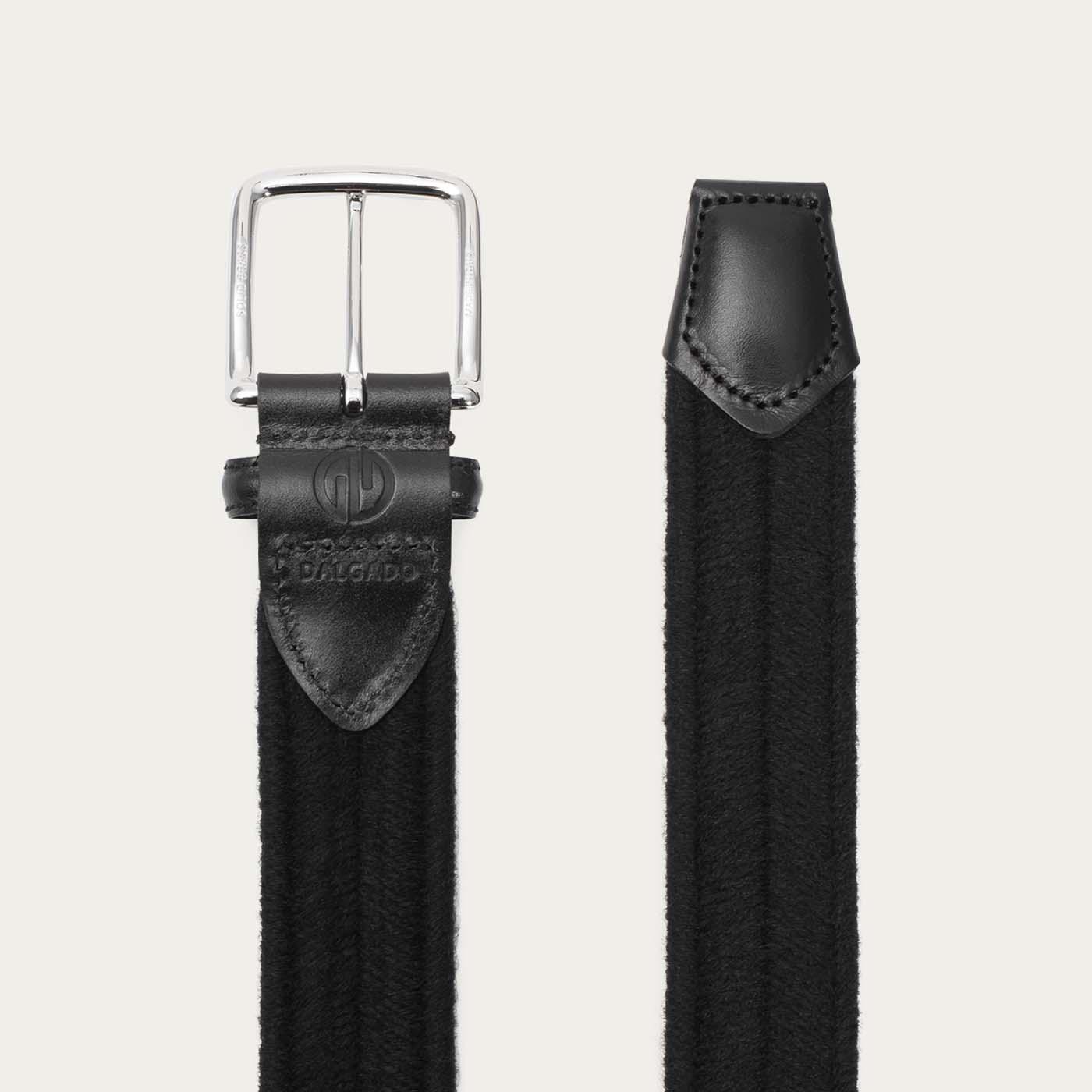 Black Giorgio Elastic Braided Wool Belt  | Bombinate
