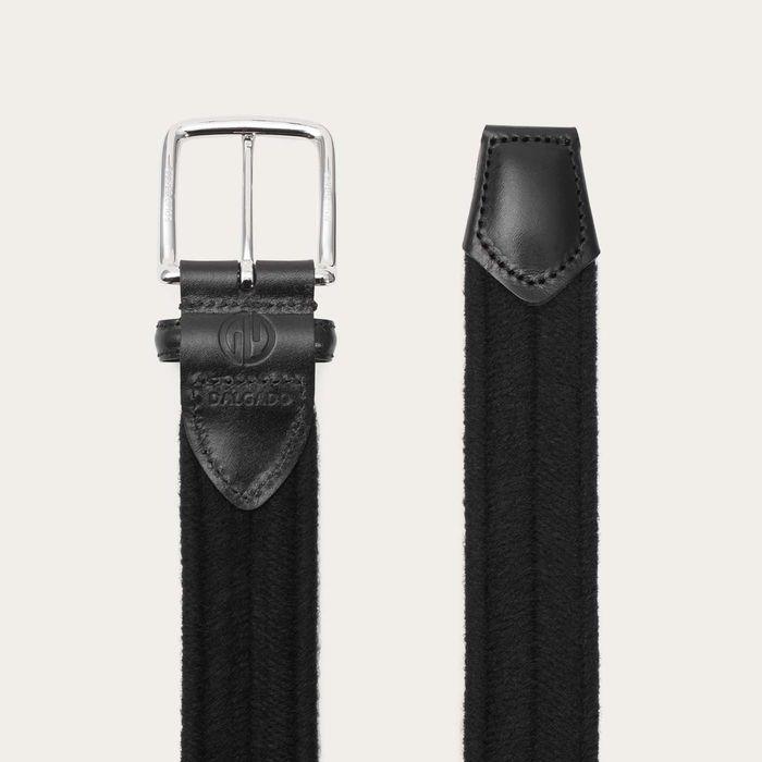 Black Giorgio Elastic Braided Wool Belt    Bombinate