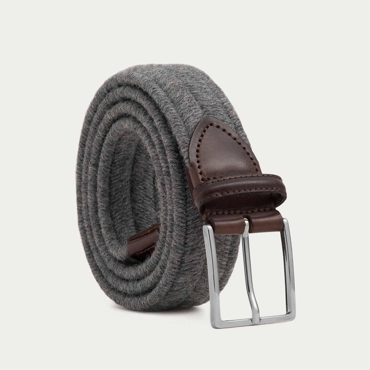 Grey Giovanni Elastic Braided Wool Belt  | Bombinate