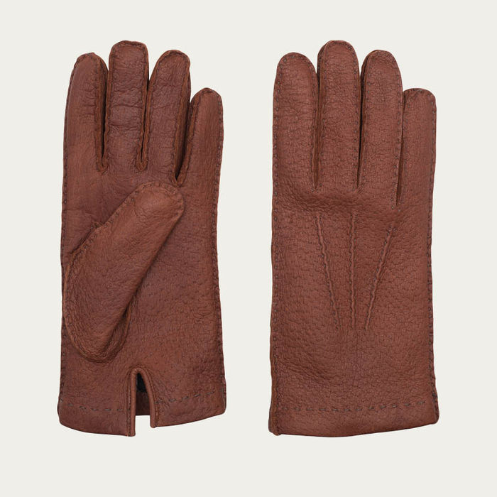 Brown Camillo Handmade Peccary Leather Gloves | Bombinate