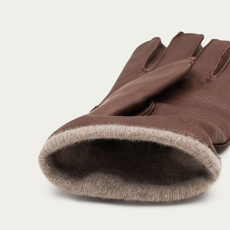 Brown Carlo Handmade Deer Leather Gloves  | Bombinate