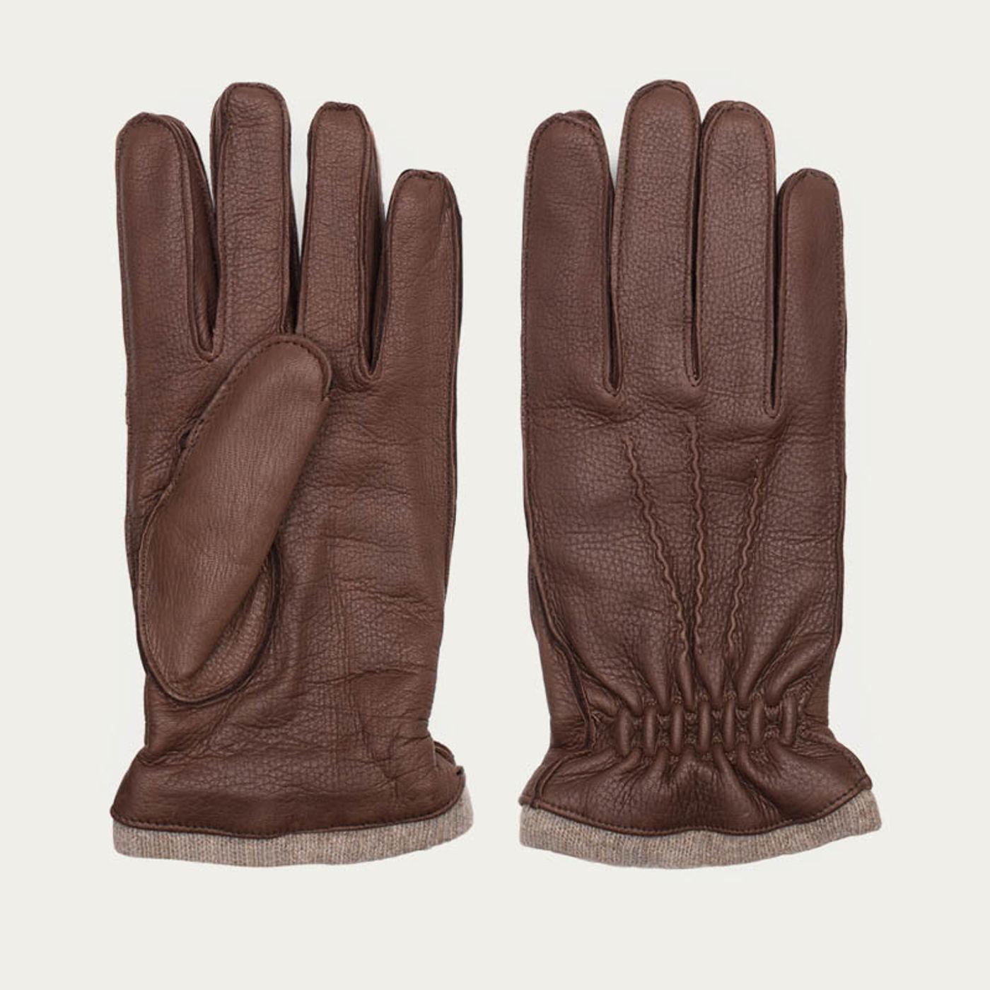 Brown Carlo Handmade Deer Leather Gloves    Bombinate