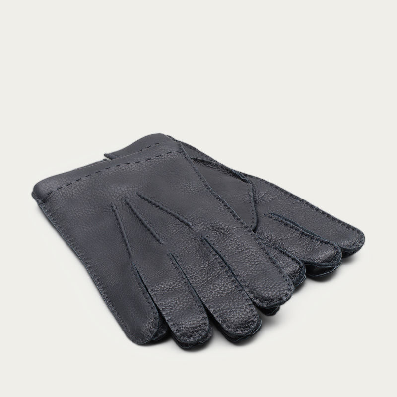 Blue Emanuele Handmade Deer Leather Gloves  | Bombinate