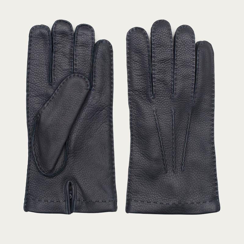 Blue Emanuele Handmade Deer Leather Gloves  0