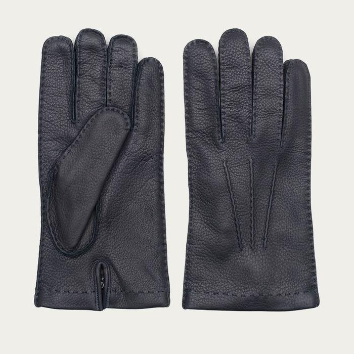 Blue Emanuele Handmade Deer Leather Gloves  | Bombinate
