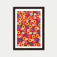 Many Flowers Art Print Black Frame | Bombinate