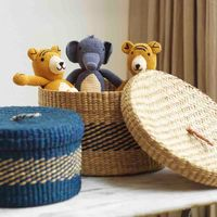 Round Baskets with Lid - Set of 2 | Bombinate