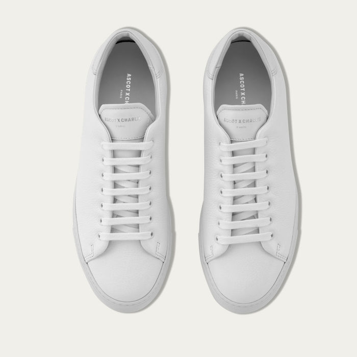 White Grain Leather Mono Sneaker | Bombinate