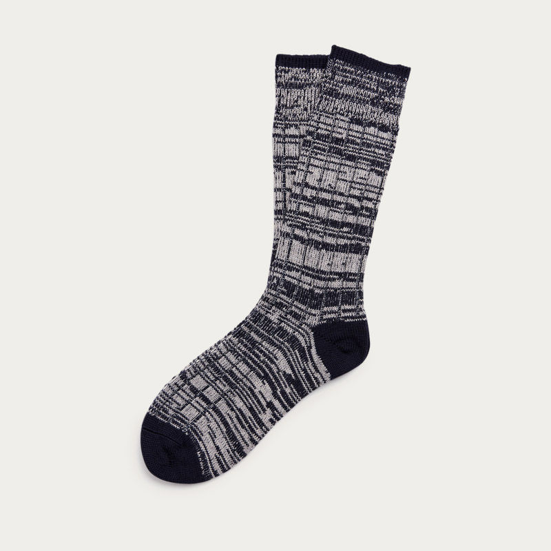 Navy Grey Mix Merino Knit Socks  | Bombinate