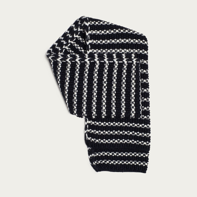 Navy and Cream Stripe Merino Moss Stitch Scarf  | Bombinate