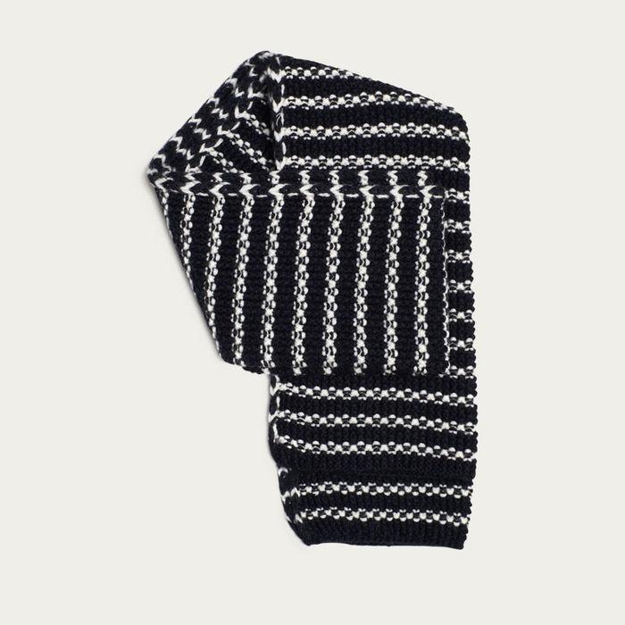 Navy and Cream Stripe Merino Moss Stitch Scarf    Bombinate