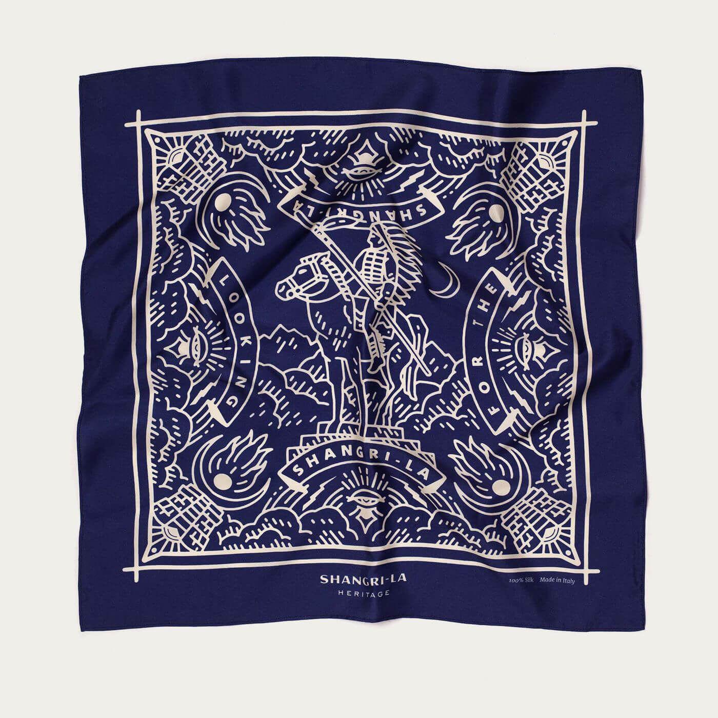 "Deep Blue ""Looking for the Shangri-La"" Silk Foulard   Bombinate"