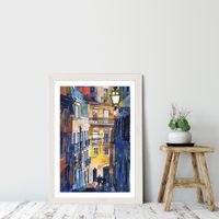 Lisbon Art Print White Frame   Bombinate