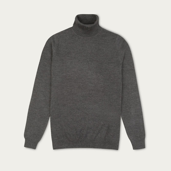 Charcoal Sterling Roll Neck Knitted Jumper | Bombinate