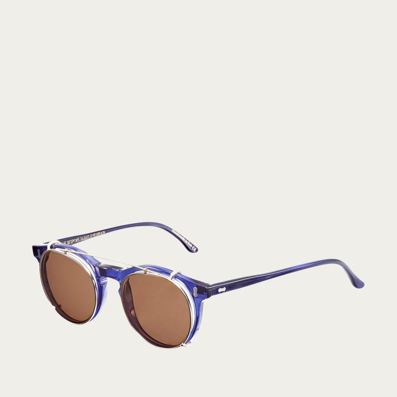 Dark Blue / Tobacco Pleat Sunglasses  | Bombinate