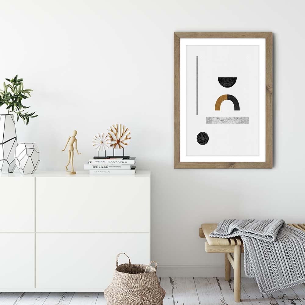 Abstract Geometric III Art Print Oak Frame | Bombinate