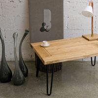 Brown Coffee Table Village Door Black Legs FCT0010 | Bombinate