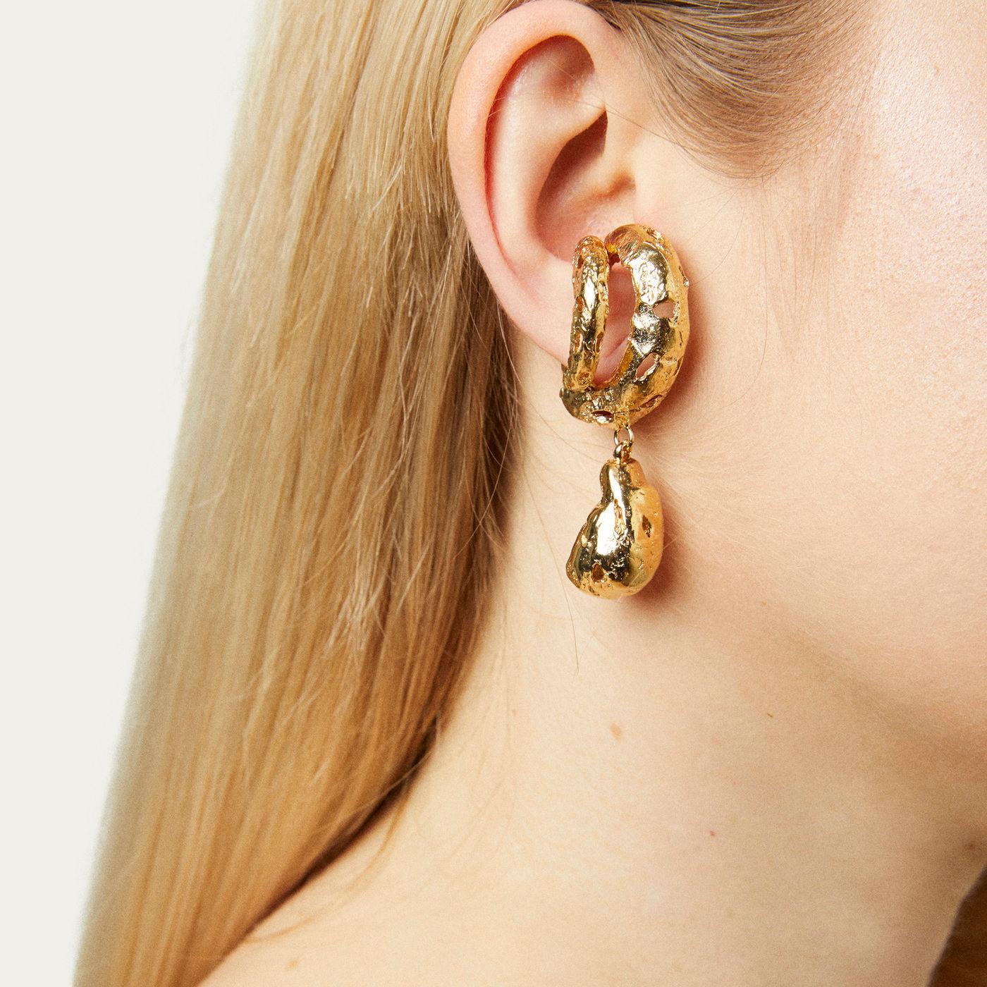 Gold Pamela Earrings | Bombinate