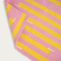 Pink and Yellow Jamakhan Stripe Handwoven Rug | Bombinate