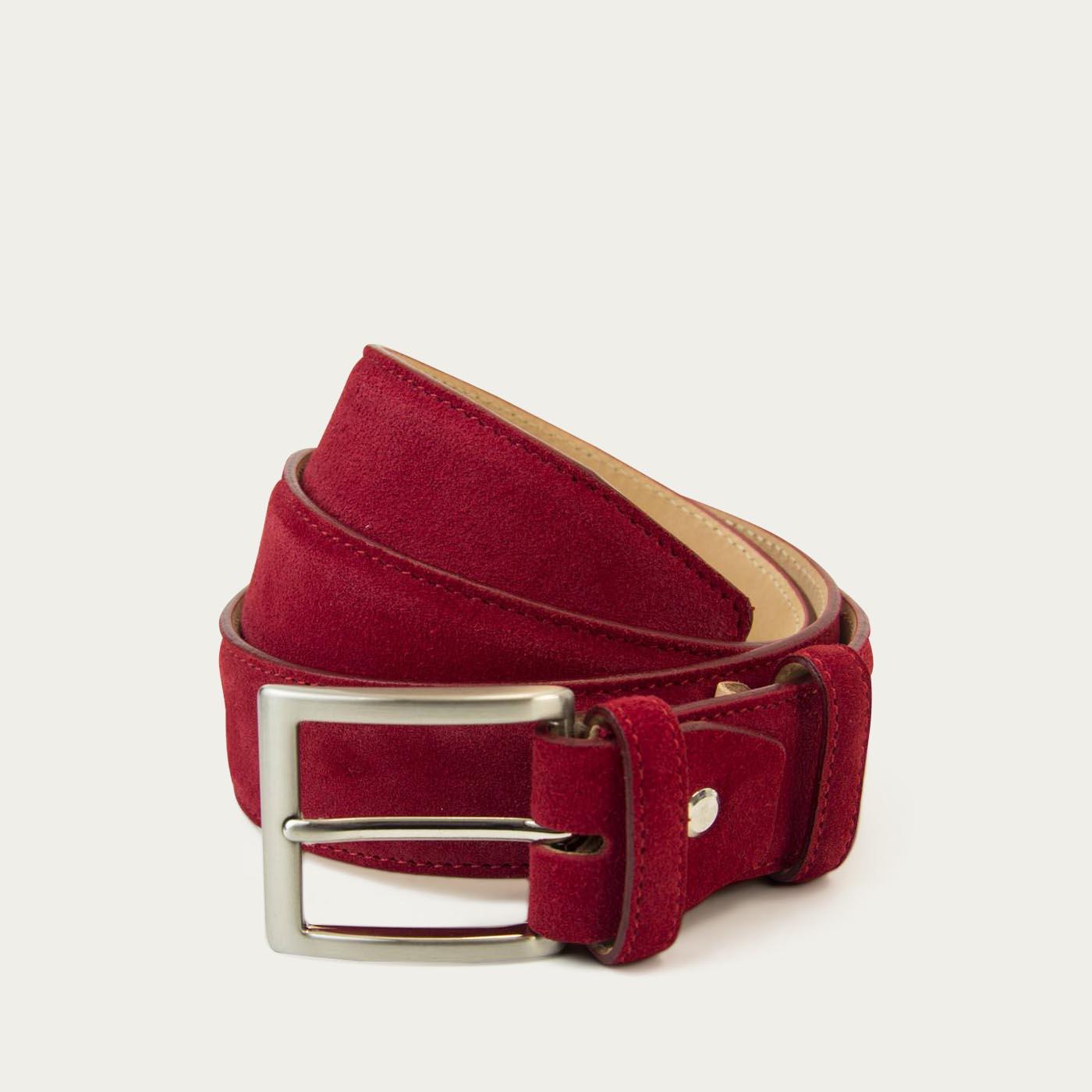 Red Solid Suede Belt   0