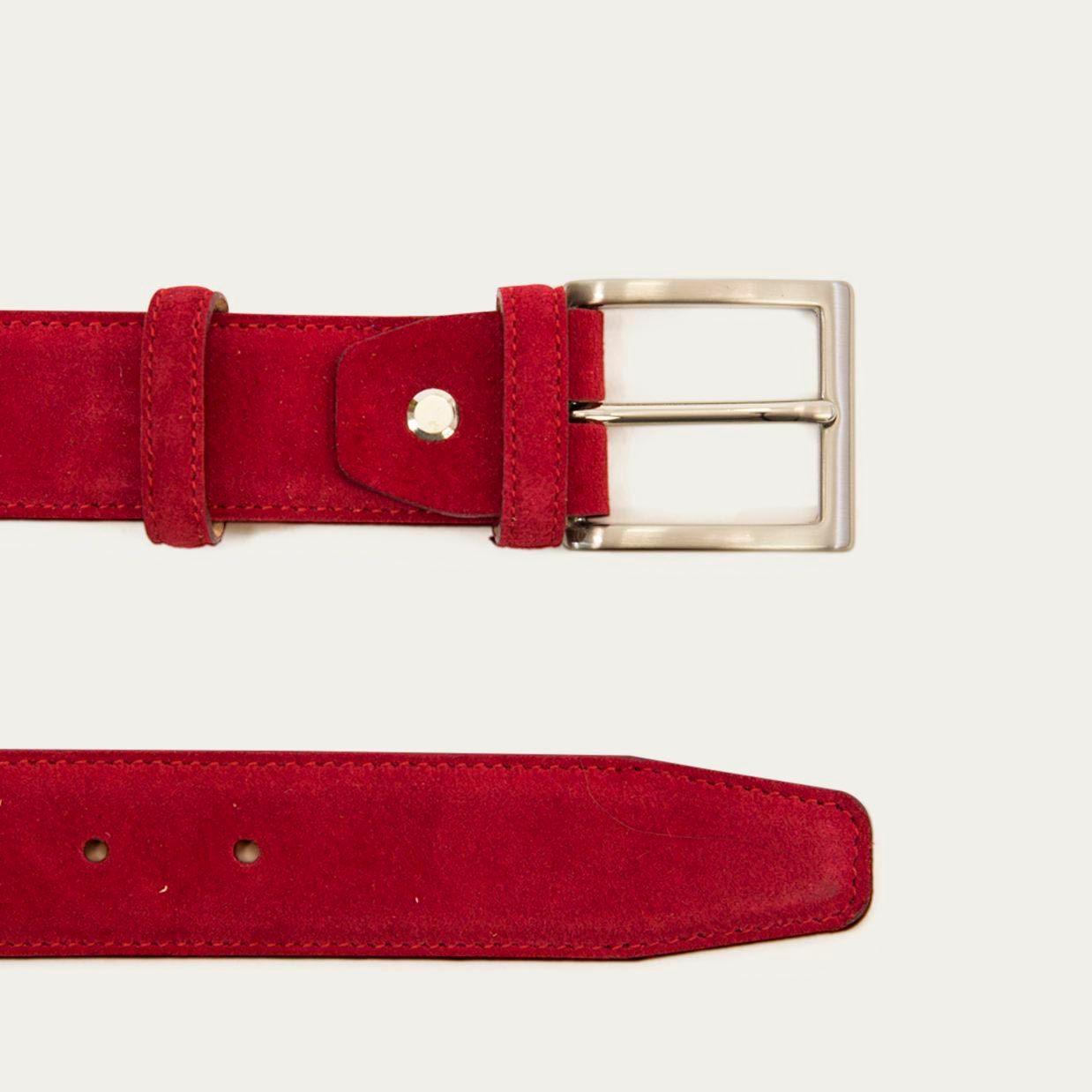 Red Solid Suede Belt   | Bombinate