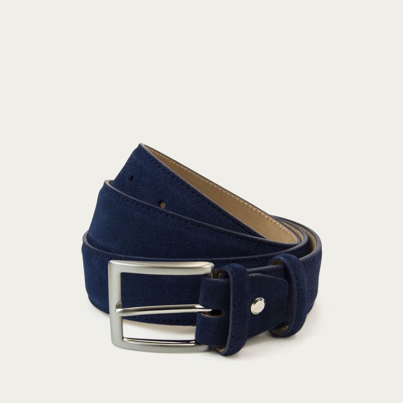Navy Solid Suede Belt   0