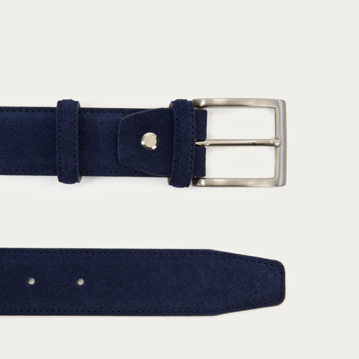 Navy Solid Suede Belt   1