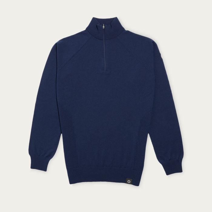 Ink Blue Marston Merino Quarter Zip Sweater | Bombinate