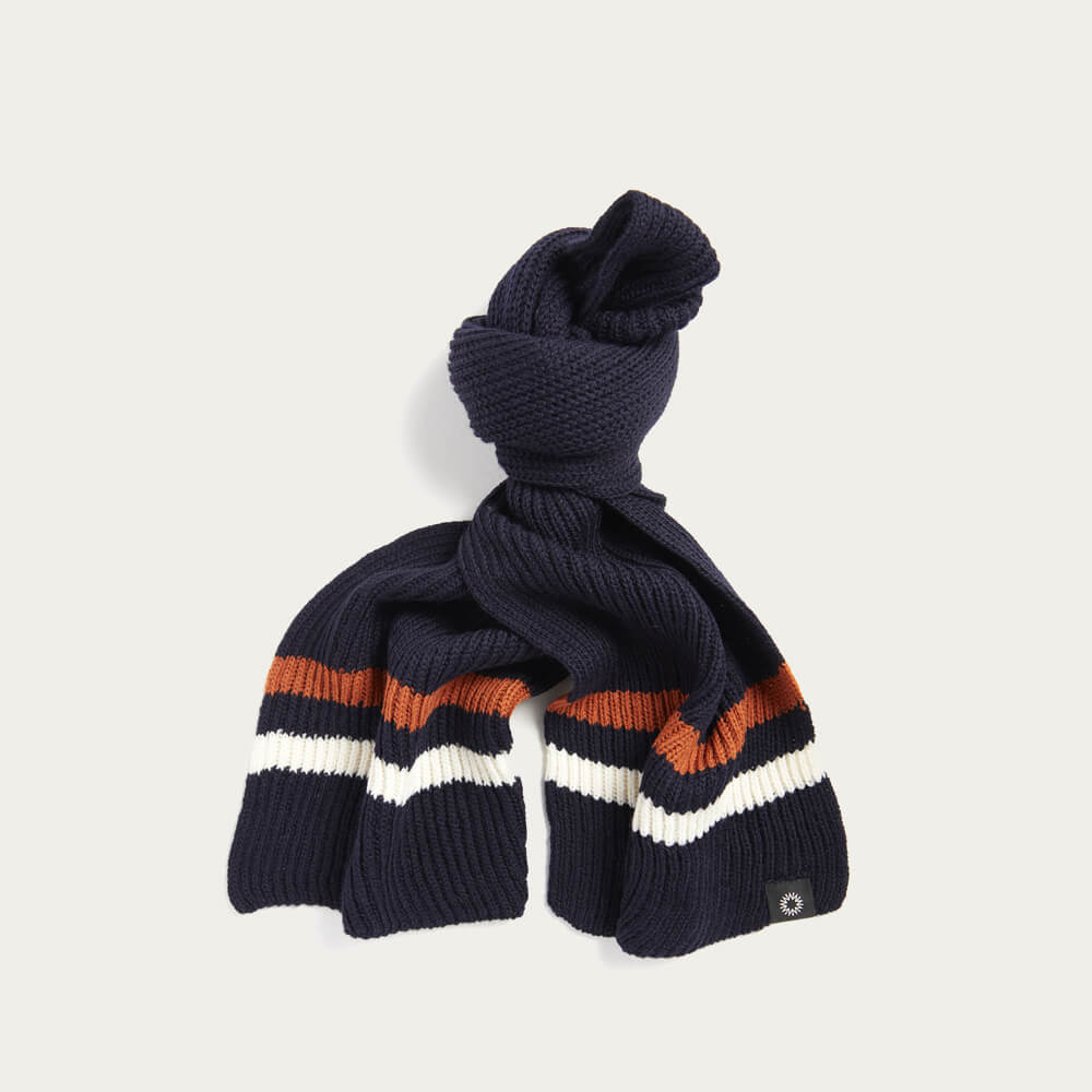 Navy Striped Merino Scarf | Bombinate
