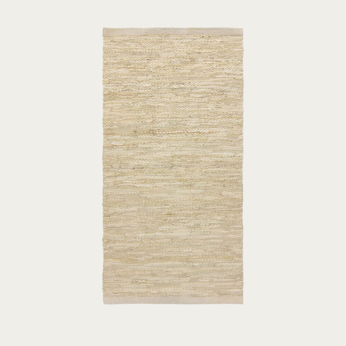 Beige Leather Rug | Bombinate