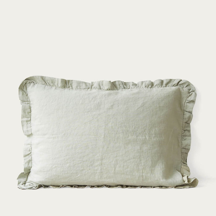 Sage Frilled Washed Linen Pillow Case | Bombinate