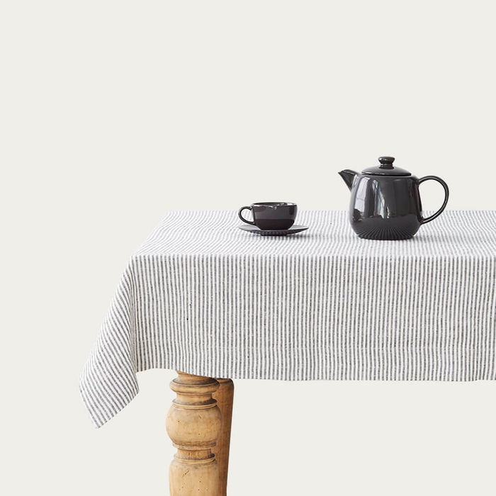 Thin Black Stripes Washed Linen Tablecloth | Bombinate