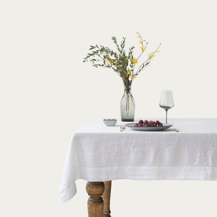 White Washed Linen Tablecloth | Bombinate