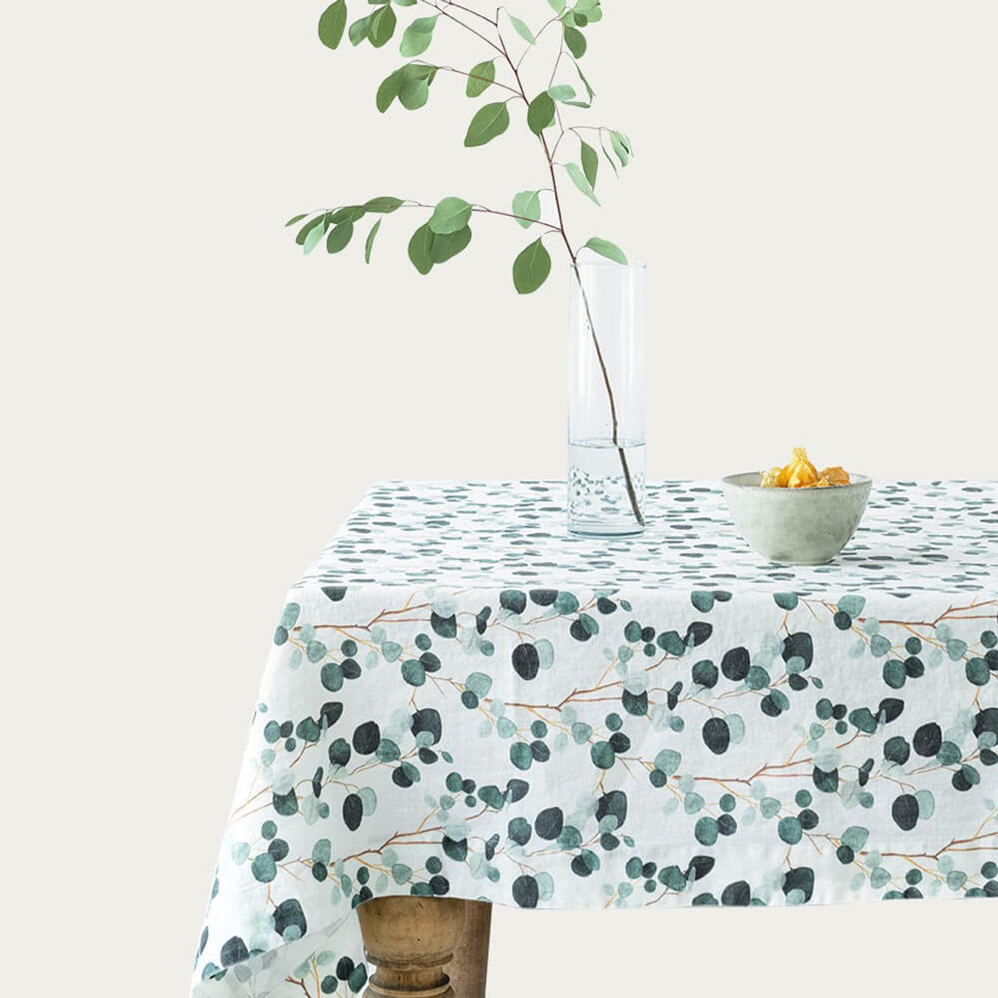 White Eucalyptus Print Washed Linen Tablecloth | Bombinate