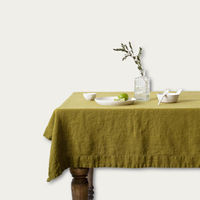 Moss Green Washed Linen Tablecloth   Bombinate