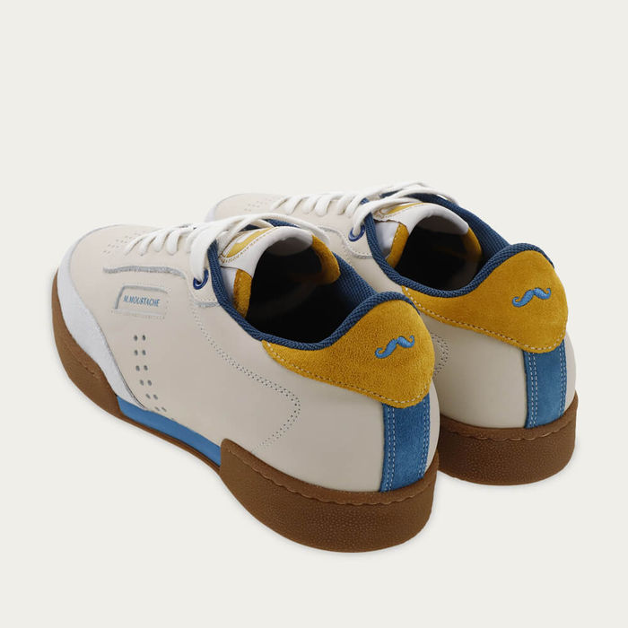 Ecru Blue and Mustard Leather Anatole | Bombinate